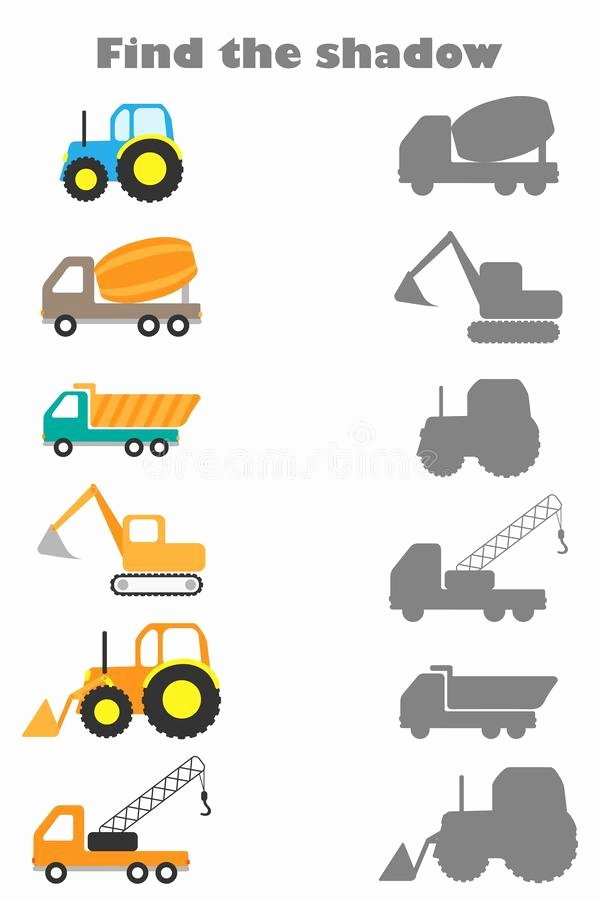 Vehicles Worksheets for Preschoolers Free Find the Shadow Game with Construction Transport