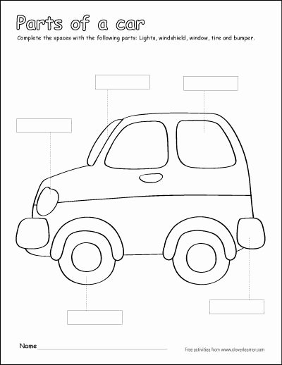 Vehicles Worksheets for Preschoolers Free Label and Colour the Parts Of the Car Free Printable