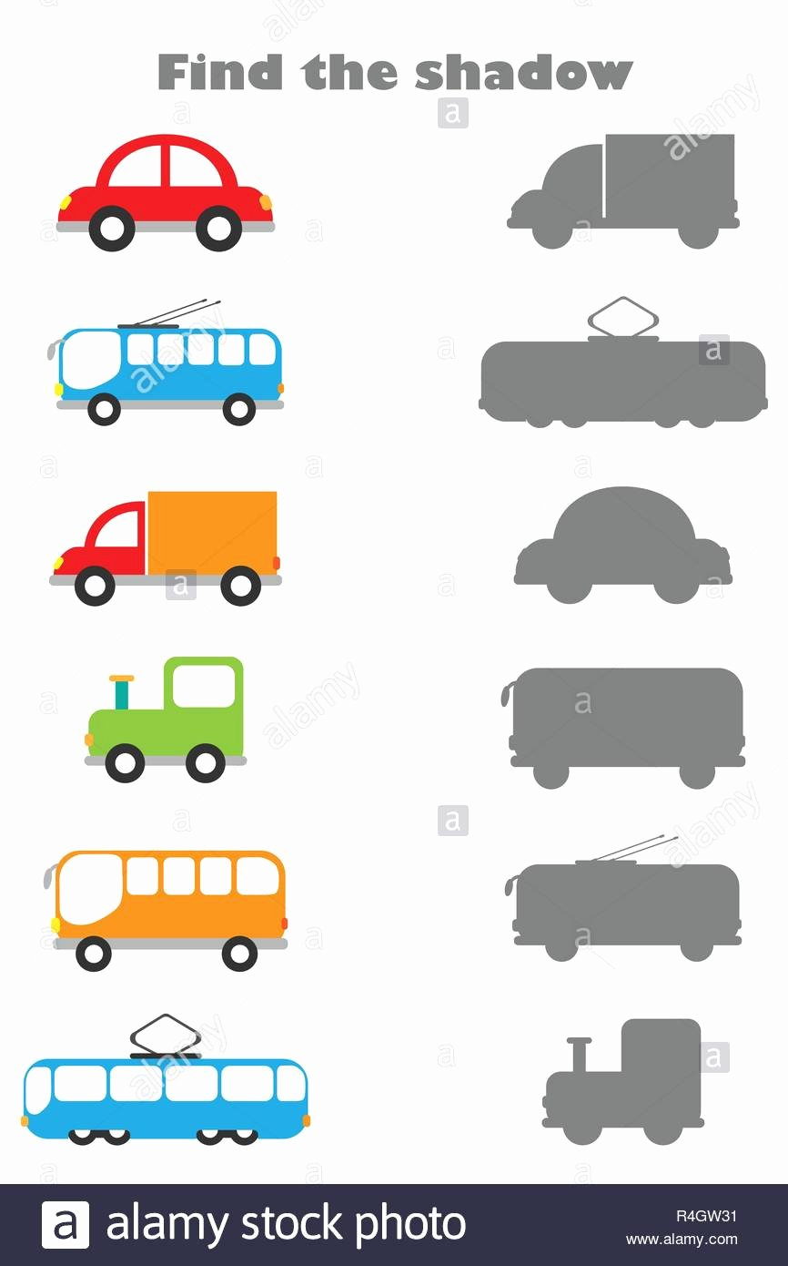 Vehicles Worksheets for Preschoolers Fresh Find the Shadow Game with Pictures Of Transport for Children
