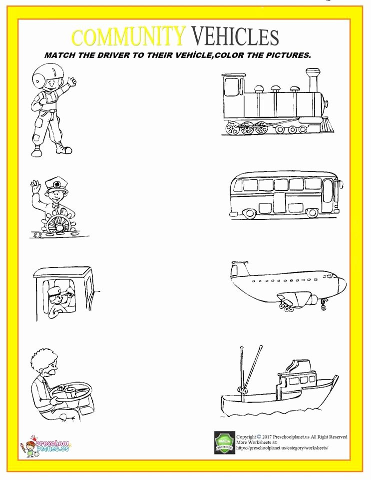 Vehicles Worksheets for Preschoolers Ideas Munity Vehicle and Drivers Worksheet – Preschoolplanet