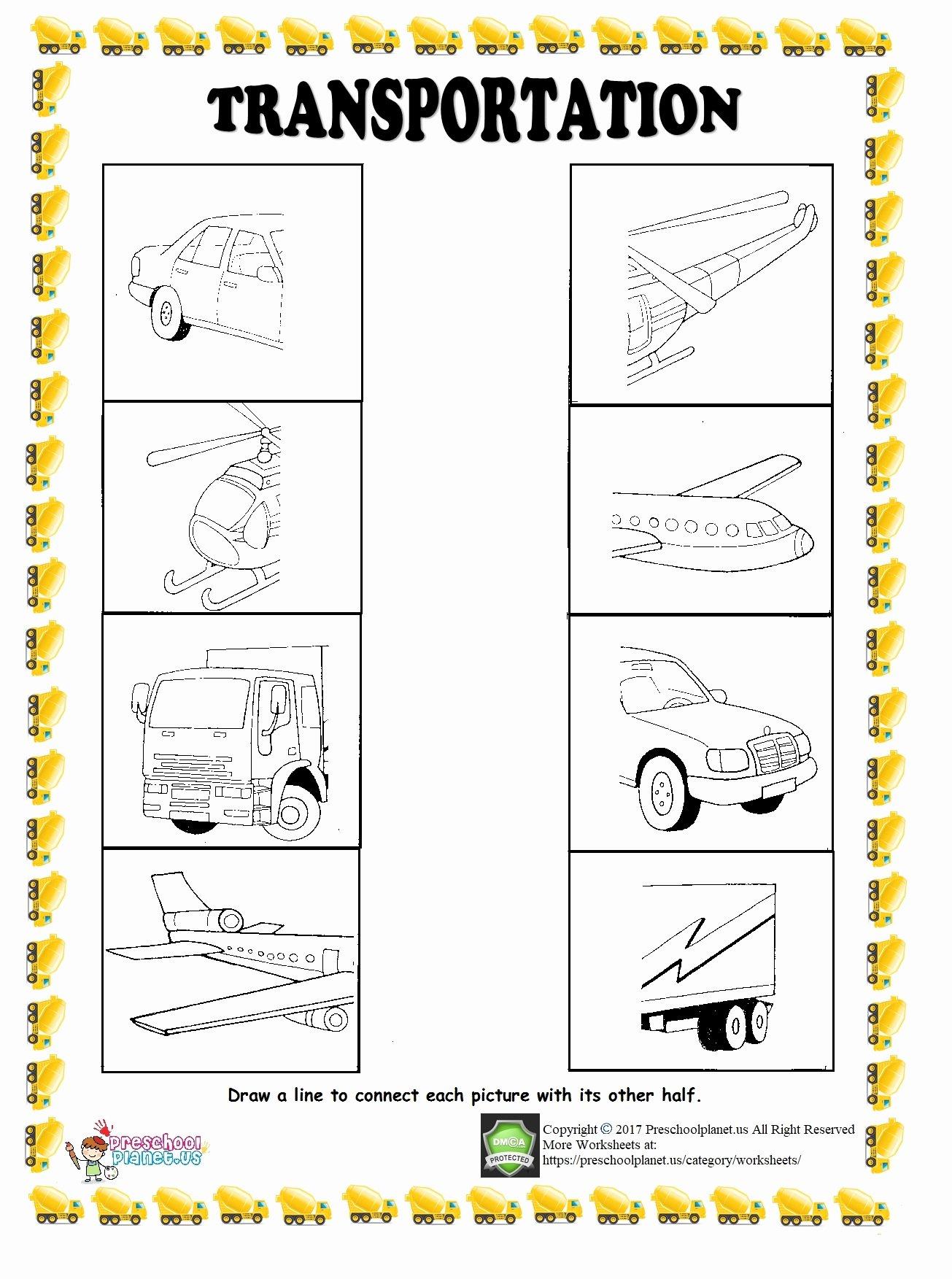 Vehicles Worksheets for Preschoolers Inspirational Find Half Of Given Transportation Worksheet – Preschoolplanet