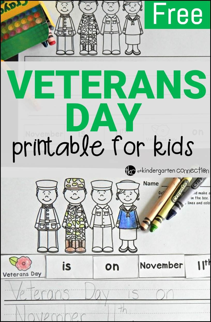 Veterans Day Worksheets for Preschoolers Inspirational Free Veterans Day Activity the Kindergarten Connection