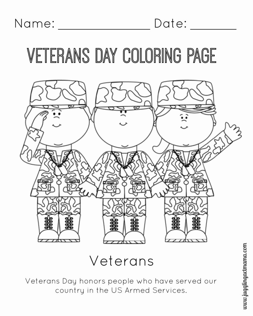 Veterans Day Worksheets for Preschoolers Kids Veteran S Day Printable Coloring Page Juggling Act Mama