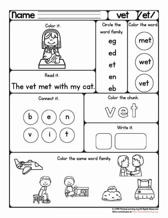 Veterinarian Worksheets for Preschoolers Fresh Vet Worksheet Et Word Family