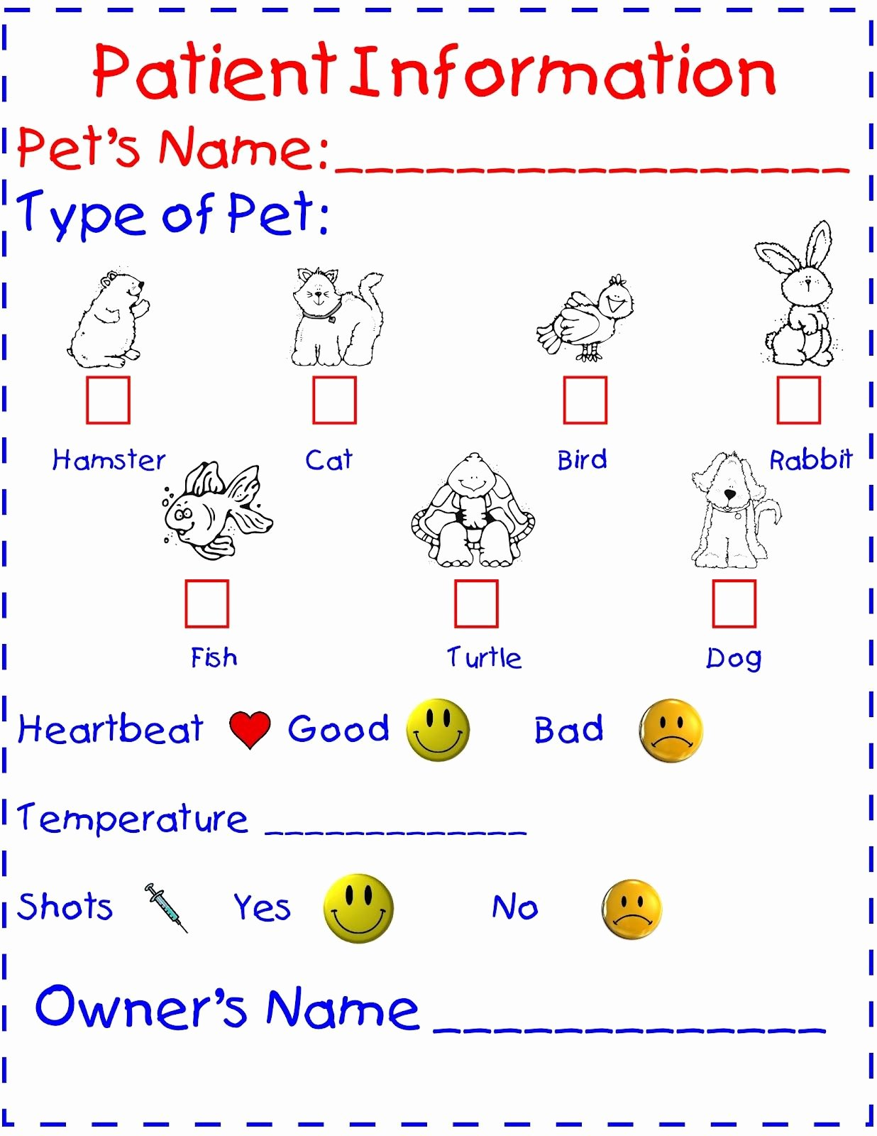 Veterinarian Worksheets for Preschoolers Kids Kindergarten Night Owls March Vet Center