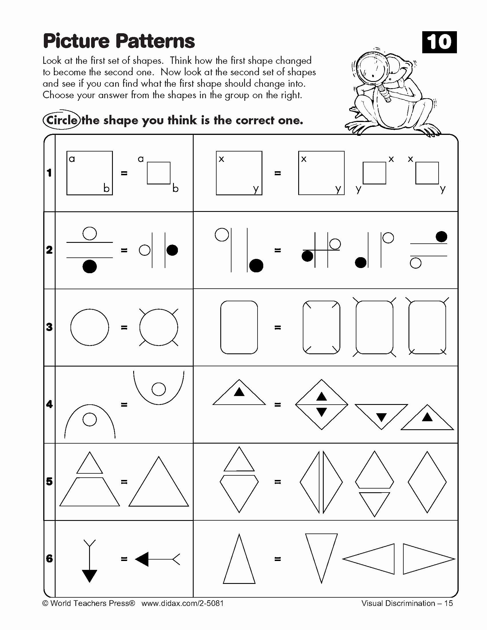 Visual Discrimination Worksheets for Preschoolers Free Visual Discrimination