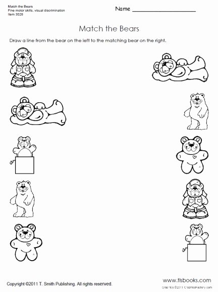 Visual Discrimination Worksheets for Preschoolers top Match the Bears Preschool Worksheet