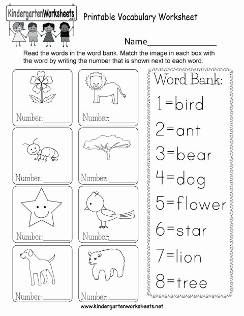 Vocabulary Worksheets for Preschoolers Kids 7 Kindergarten Vocabulary Words Worksheet