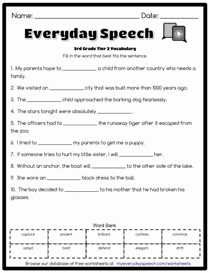 Vocabulary Worksheets for Preschoolers Lovely 3rd Grade Vocabulary Worksheets for Free Preschool Worksheet