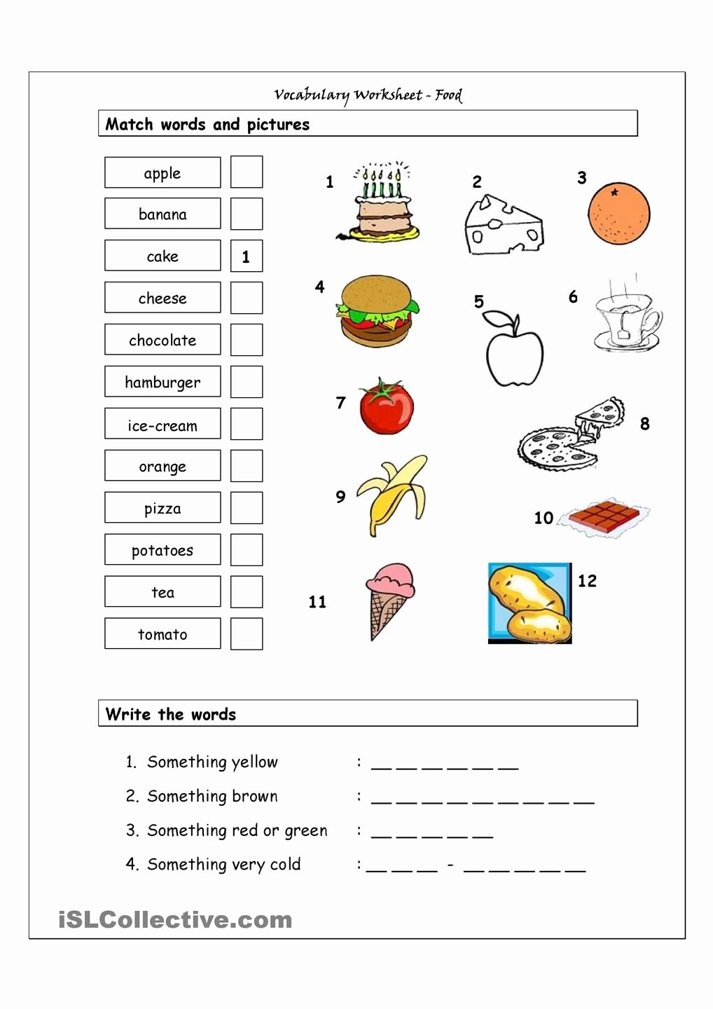 Vocabulary Worksheets for Preschoolers Lovely Vocabulary Matching Worksheet Food