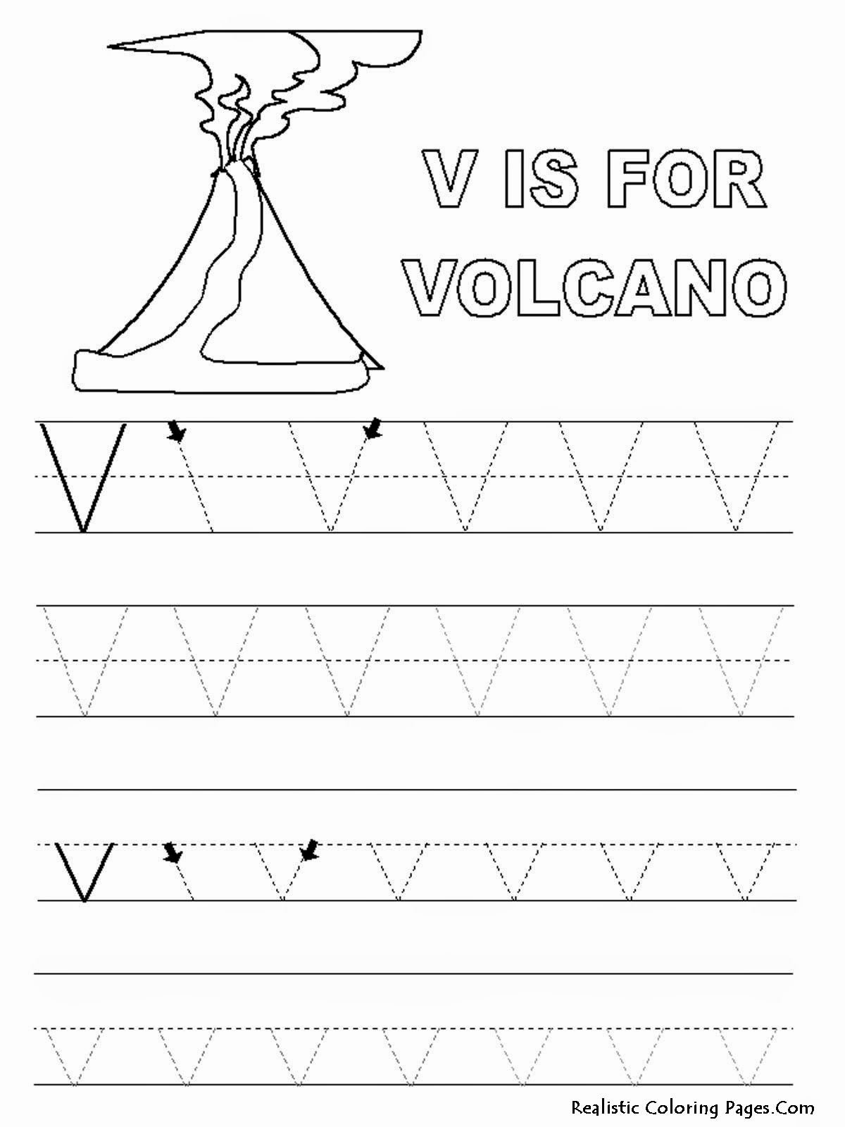 Volcano Worksheets for Preschoolers Fresh Alphabet Tracer Pages V Volcano Jpeg Image 1200 — 1600