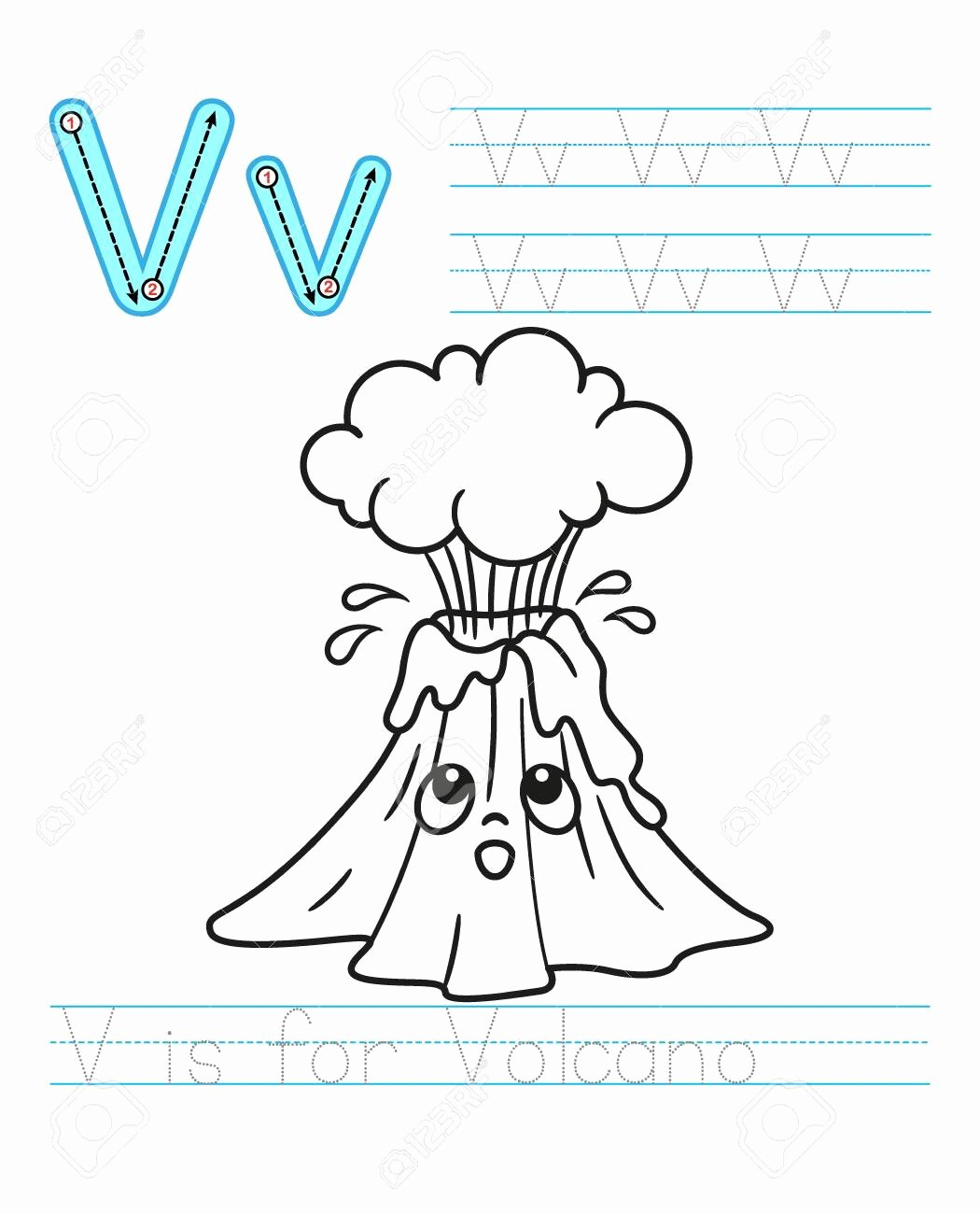 Volcano Worksheets for Preschoolers top Coloring Book Page Printable Worksheet for Kindergarten and