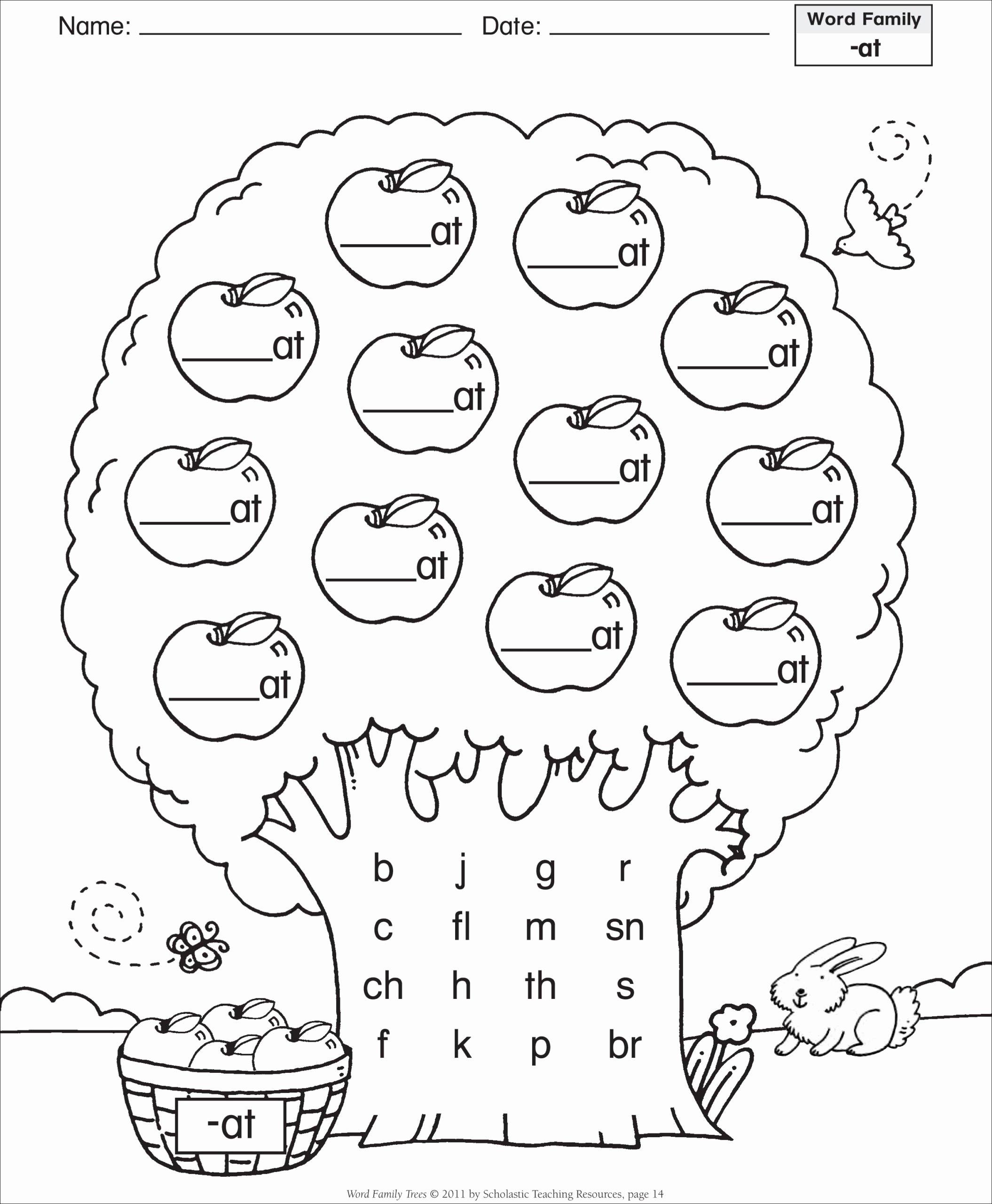 Vowels Worksheets for Preschoolers Printable Worksheets Word Family Template Short Vowel at Tree 4th