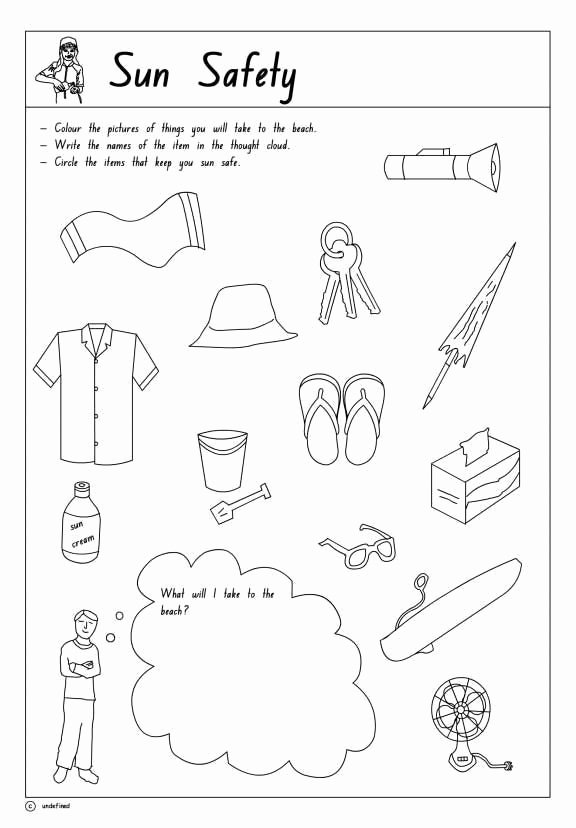 Water Safety Worksheets for Preschoolers Fresh Sun Safety Printable 1 to