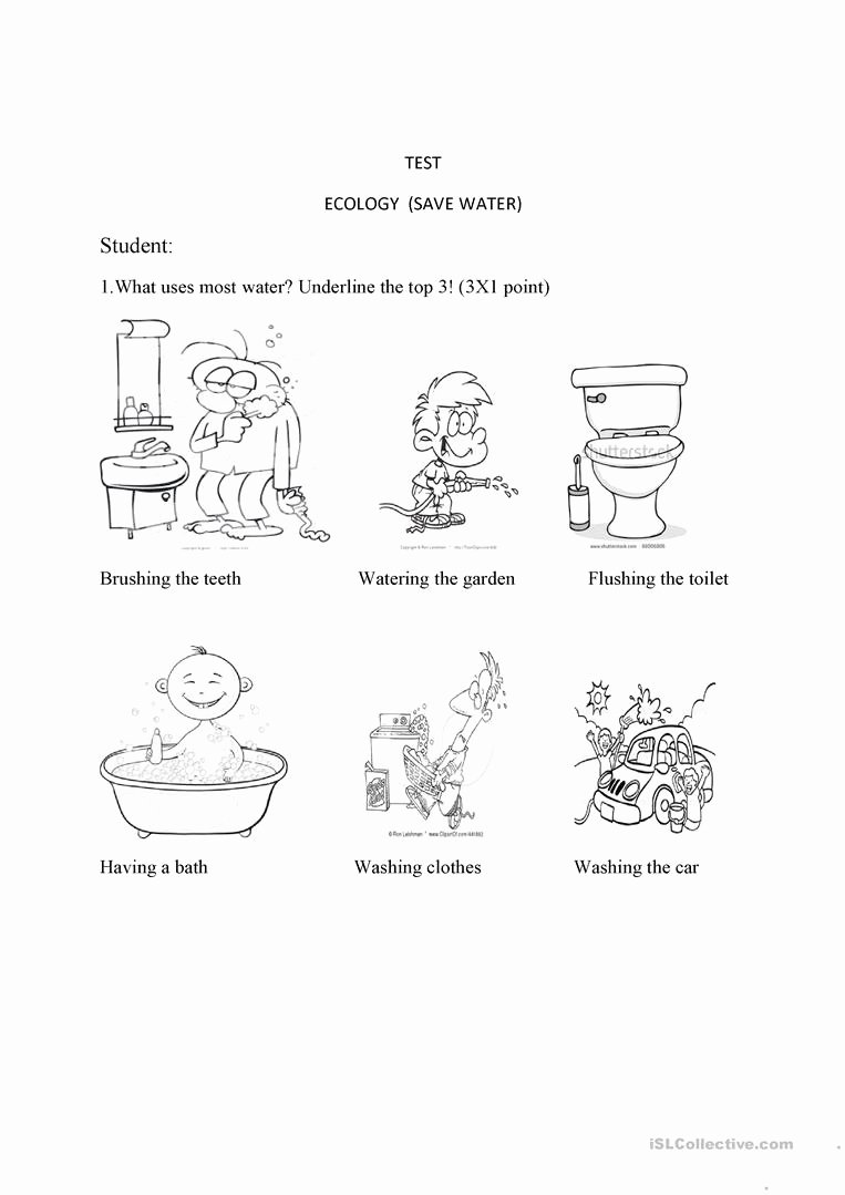 Water Worksheets for Preschoolers Inspirational Test Ecology Save Water English Esl Worksheets for Distance