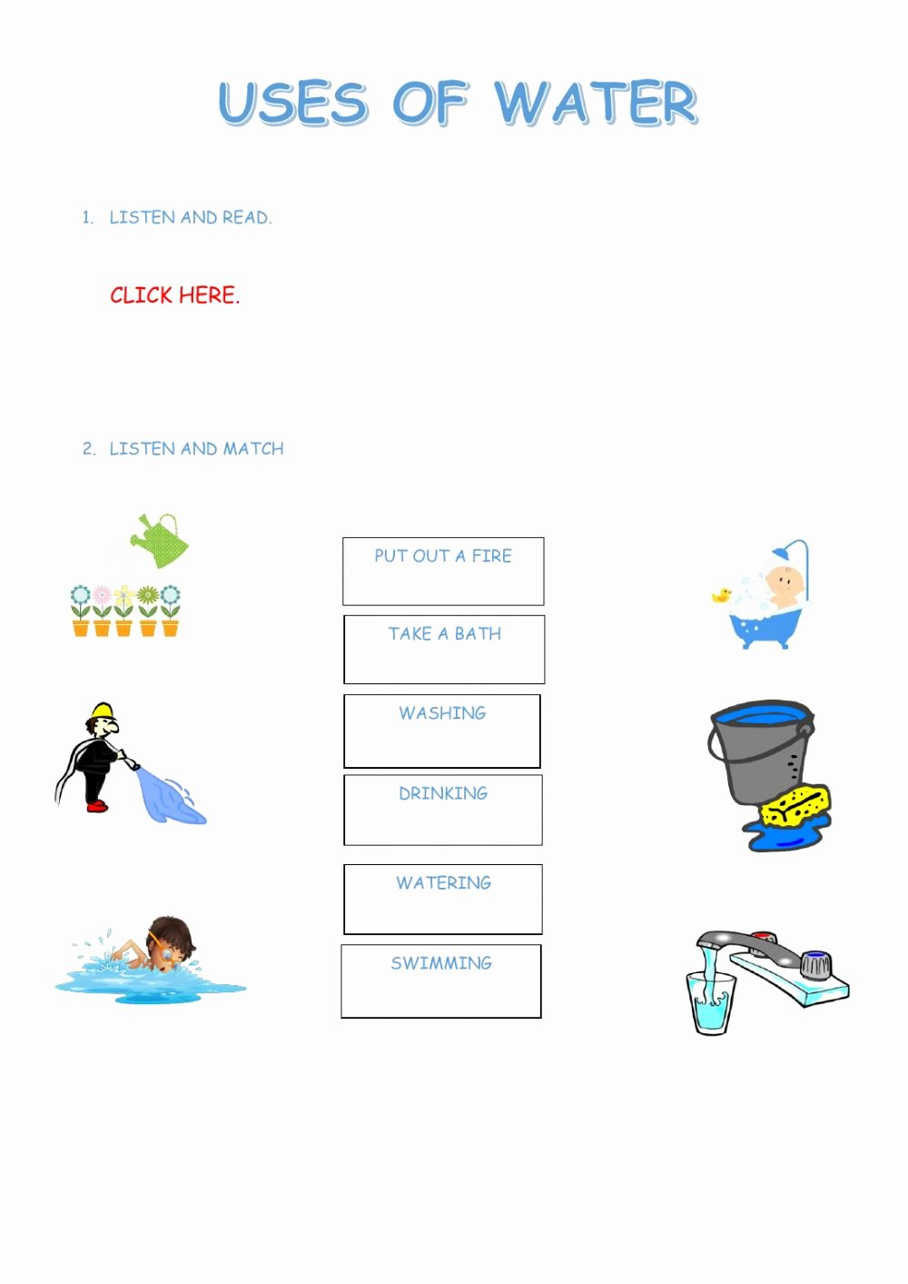 Water Worksheets for Preschoolers Inspirational Uses Of Water Interactive Worksheet