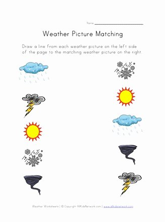 Weather Worksheets for Preschoolers Best Of Weather Worksheet Picture Matching