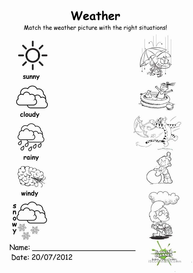 Weather Worksheets for Preschoolers New 133 Free Esl Weather Worksheets for Adults