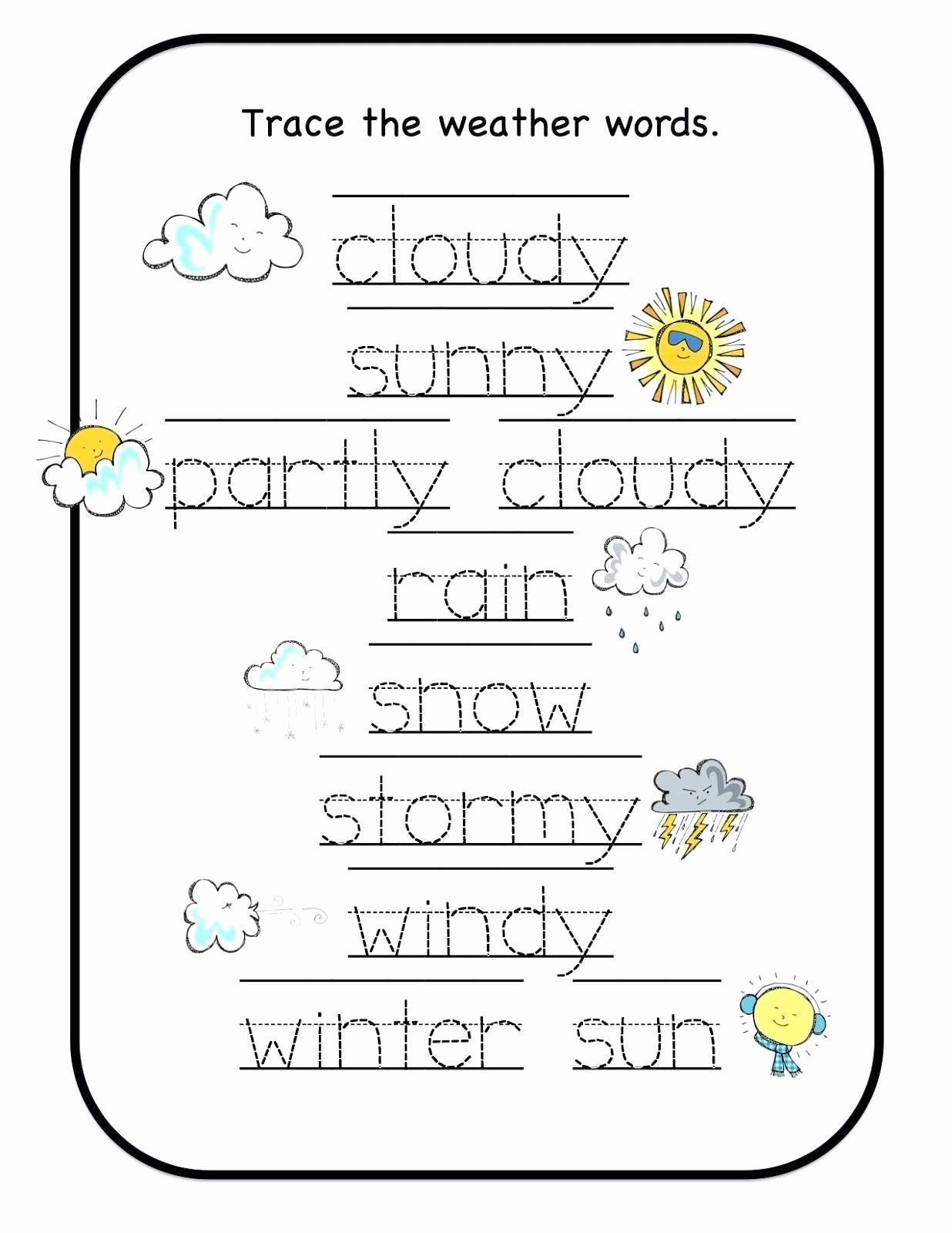 Weather Worksheets for Preschoolers top Preschool Worksheets Weather – Lbwomen