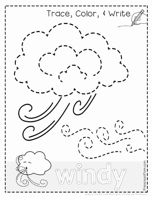 Weather Worksheets for Preschoolers top Weather Tracing Pages Preschool Mom