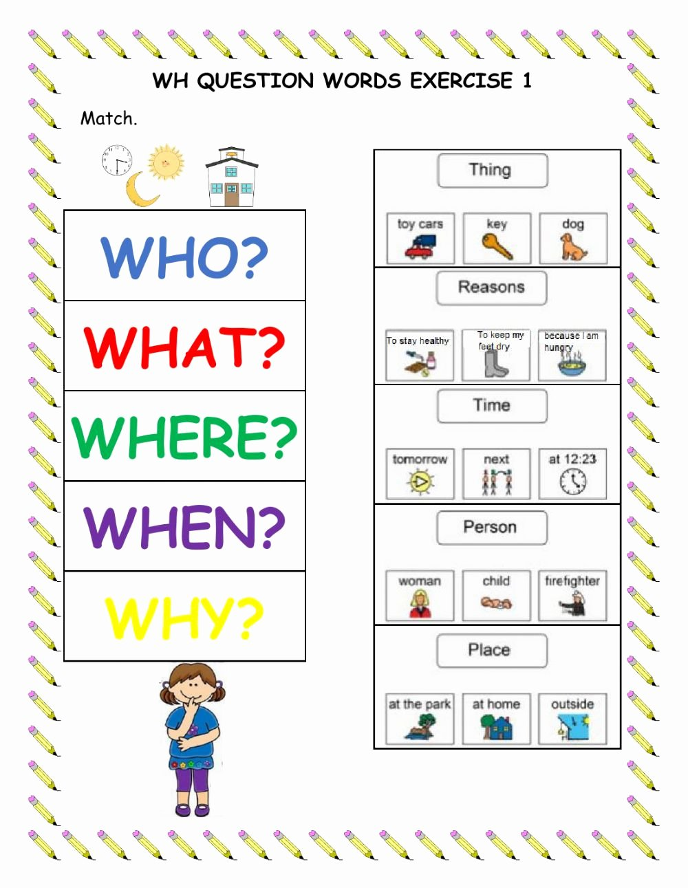 Wh Questions Worksheets for Preschoolers Free Wh Question Words Exercise 1 Interactive Worksheet