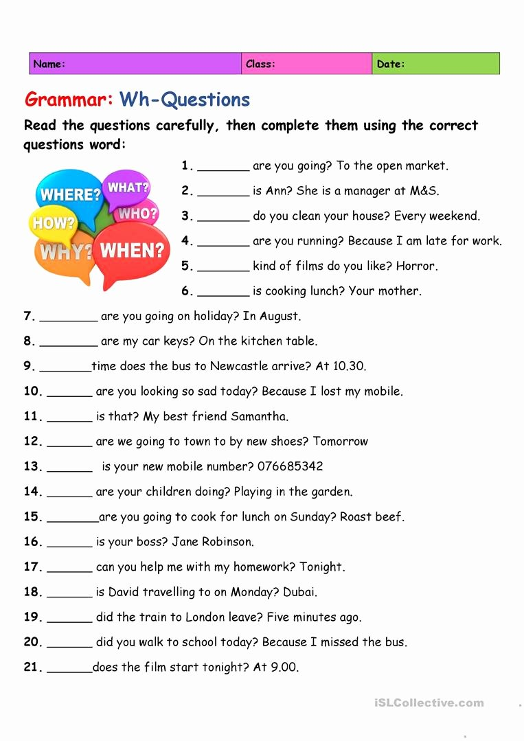 Wh Questions Worksheets for Preschoolers Inspirational Wh Questions English Esl Worksheets for Distance Learning