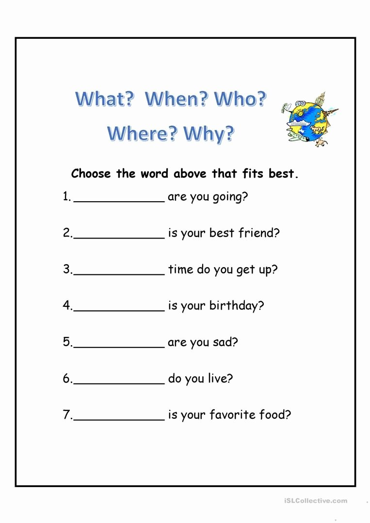 Wh Questions Worksheets for Preschoolers New Wh Questions Worksheet Free Esl Printable Worksheets Made