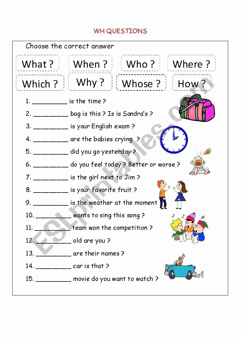 Wh Questions Worksheets for Preschoolers top Wh Questions Esl Worksheet by Bloodsugar