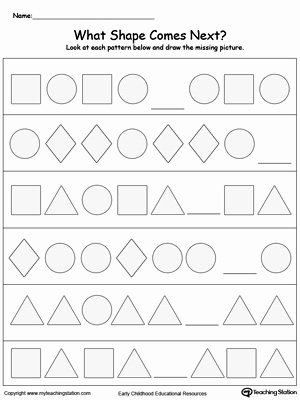 What Comes Next Worksheets for Preschoolers Printable Kindergarten Patterns Printable Worksheets