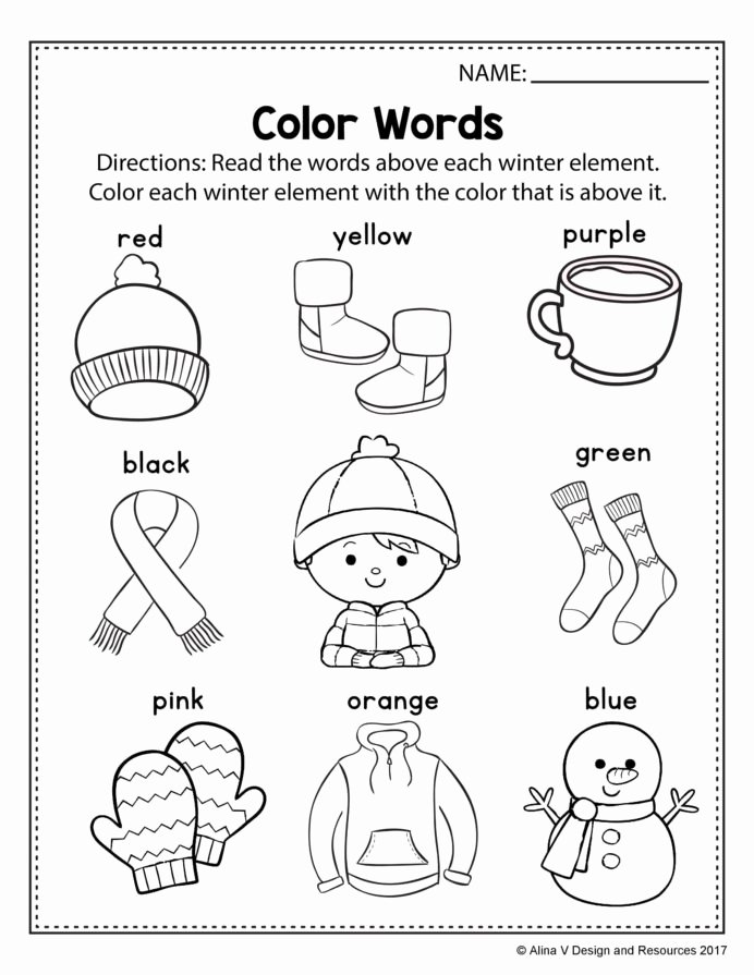 Why Worksheets for Preschoolers Ideas Free Winter Literacy Worksheet for Kindergarten No Prep