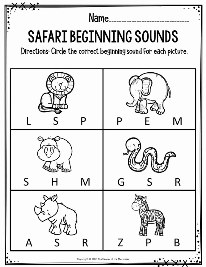 Wild Animal Worksheets for Preschoolers Inspirational Preschool Worksheets Safari Beginning sounds the Keeper