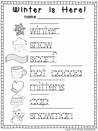 Winter Activity Worksheets for Preschoolers Kids Winter Writing Activities for Kindergarten Trace and Color