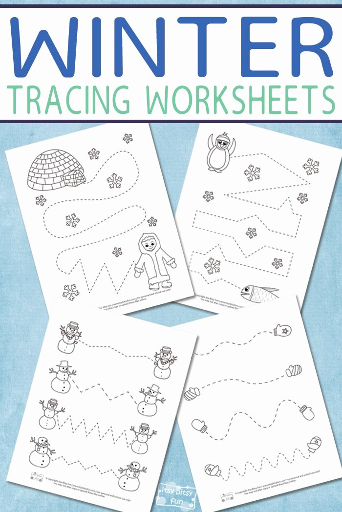 Winter Activity Worksheets for Preschoolers Printable Winter Tracing Worksheets for Kids Itsybitsyfun