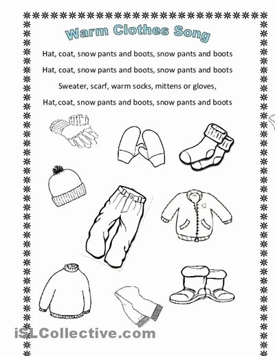 Winter Clothes Worksheets for Preschoolers Best Of Winter Clothes song En Hommage to Arianey S Version
