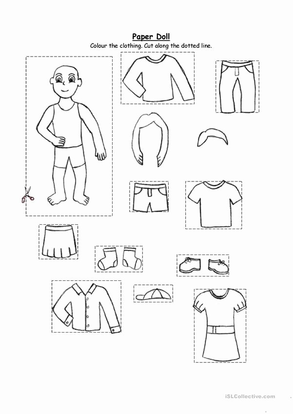 Winter Clothes Worksheets for Preschoolers Inspirational Paper Doll Clothing for Kindergarten and 1st Graders
