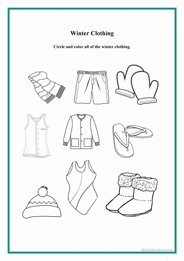 Winter Clothes Worksheets for Preschoolers Kids Clothes Worksheets for Preschool Worksheet Christmas Picture