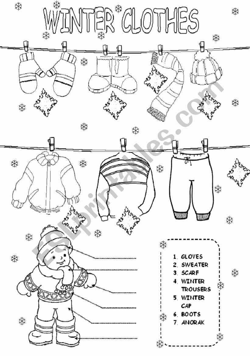 Winter Clothes Worksheets for Preschoolers New Winter Clothes Esl Worksheet by Daka3