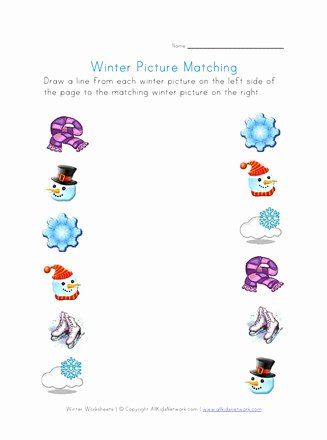 Winter Matching Worksheets for Preschoolers Fresh Winter Picture Matching Printable Winter Worksheets