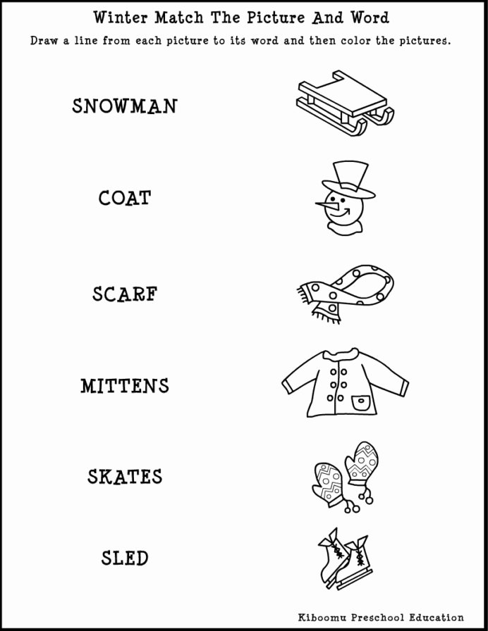 Winter Matching Worksheets for Preschoolers Fresh Winter Worksheets for Preschool Schools Printable Free Art