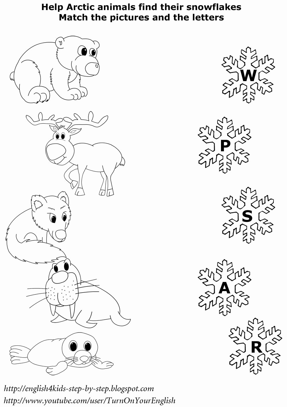 Winter Matching Worksheets for Preschoolers Kids English for Kids Step by Step Arctic Animals song for