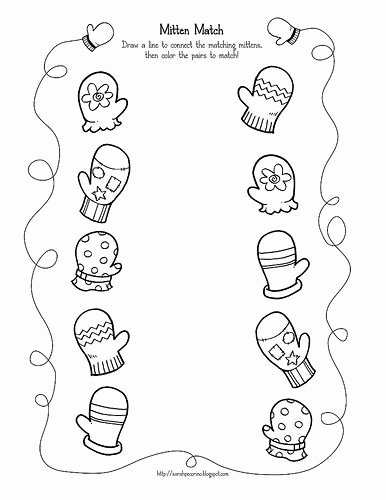 Winter Matching Worksheets for Preschoolers Kids Mitten Match by Sarah Pecorino Illustration