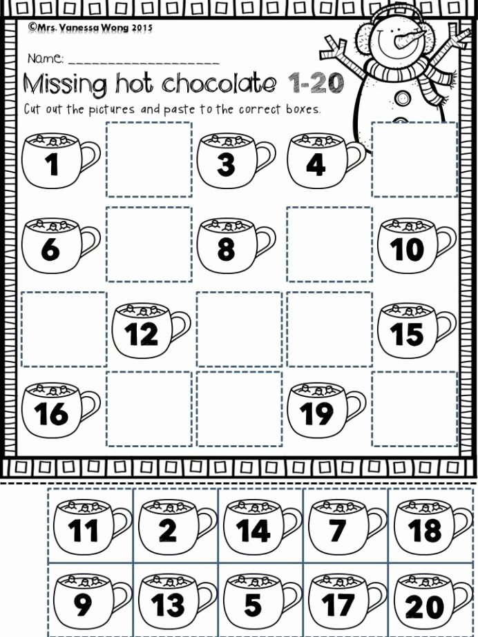 Winter Math Worksheets for Preschoolers Printable Winter Math and Literacy Worksheets Activities for Free