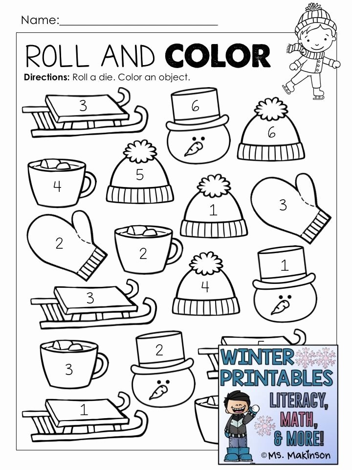 Winter theme Worksheets for Preschoolers Fresh Winter Printables Literacy Math & Science