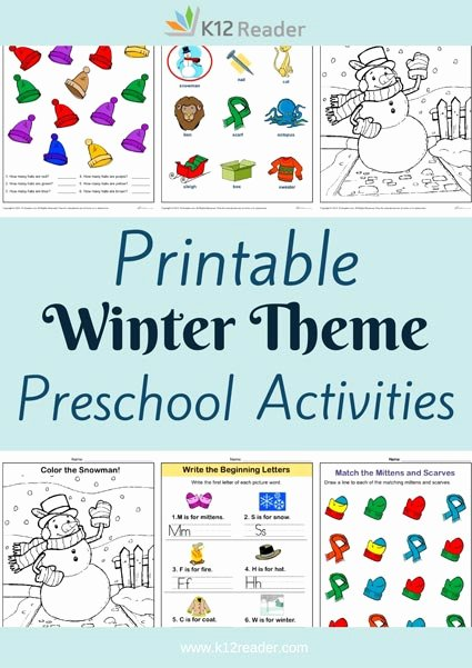 Winter theme Worksheets for Preschoolers Lovely Winter Preschool theme Activities