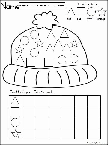 Winter theme Worksheets for Preschoolers Printable Winter Hat theme Graphing Shapes Activity