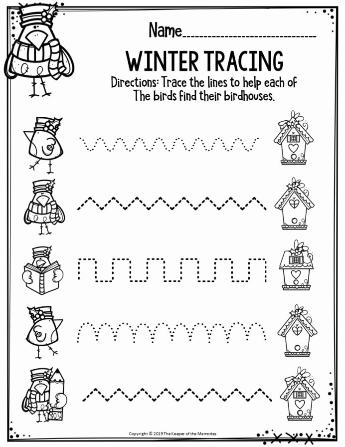 Winter Worksheets for Preschoolers Free Preschool Worksheets Winter Tracing the Keeper Memories