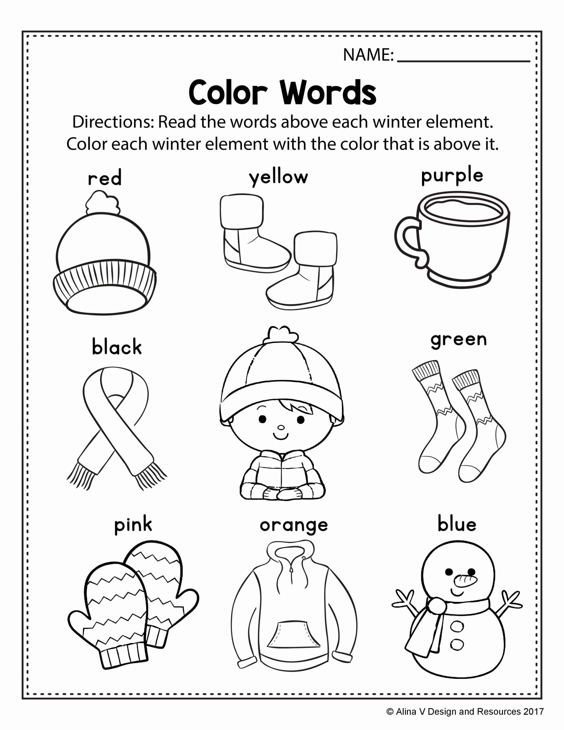 Winter Worksheets for Preschoolers New Alinavdesign