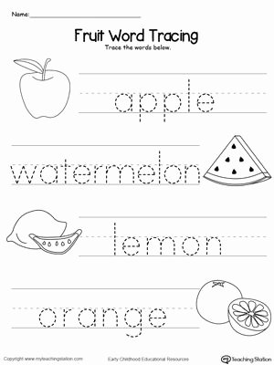 Word Tracing Worksheets for Preschoolers Best Of Fruit Word Tracing