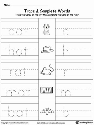 Word Tracing Worksheets for Preschoolers Best Of Worksheet at Word Family Trace and Write Myteachingstation