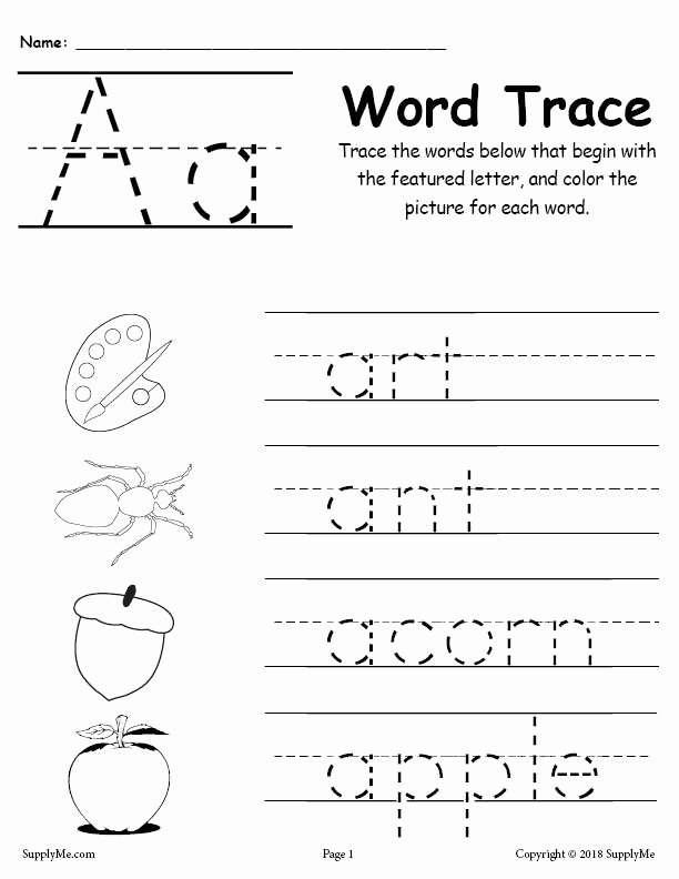 Word Tracing Worksheets for Preschoolers Ideas Alphabet Word Tracing Worksheets Supplyme Free Printable